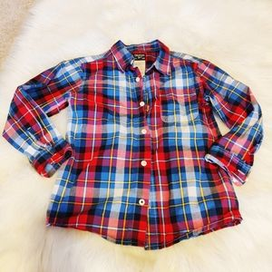 Osh Kosh boys size 6 plaid button shirt